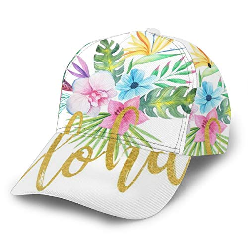 Hawaiian Multicolored Floral Bouquet with Faux Gold Aloha Brush Script Baseball Cap Adjustable Classic Sport Casual Dad Hat for Men Women Hat Newst Style Sun Hat