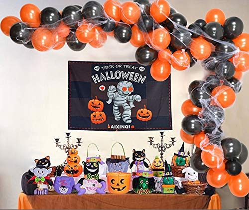 Kubert 104 pcs Halloween Balloon Garland Arch kit with Spider Web 5/12 inch Black Orange Latex Balloons for Halloween Party Decorations(Included Glue Dots,Tying Tools and Strip)