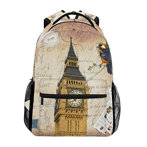 Bigben London Retro Style Boys Girls School Computer Backpacks Book Bag Travel Hiking Camping Daypack