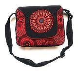 Ethnique Mode Bolso forrado en algodón étnico. Patrones étnicos impresos. Rabat, bolso de hombro de algodón para mujer, estilo indio étnico (Rojo)