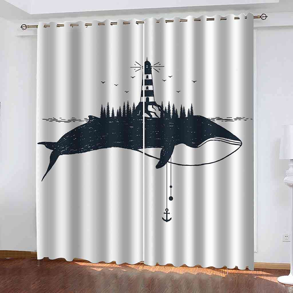 GXLOGA Blackout Grommet New products world's National uniform free shipping highest quality popular Curtains for Shark Bedroom Ligh Abstract