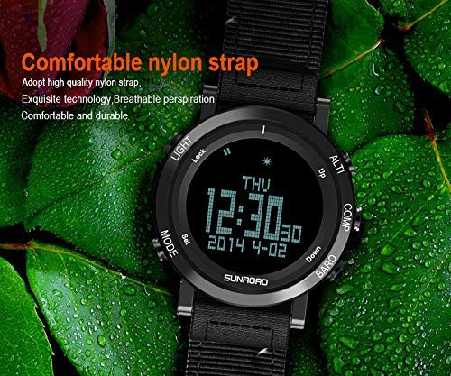 SUNROAD Men's Smart Digital Barometer Compass Altimeter Sports Watch with LED Screen Large Face Altimeter Watches & Waterproof Casual Luminous Stopwatch Pedometer Wristwatch (Black) 2