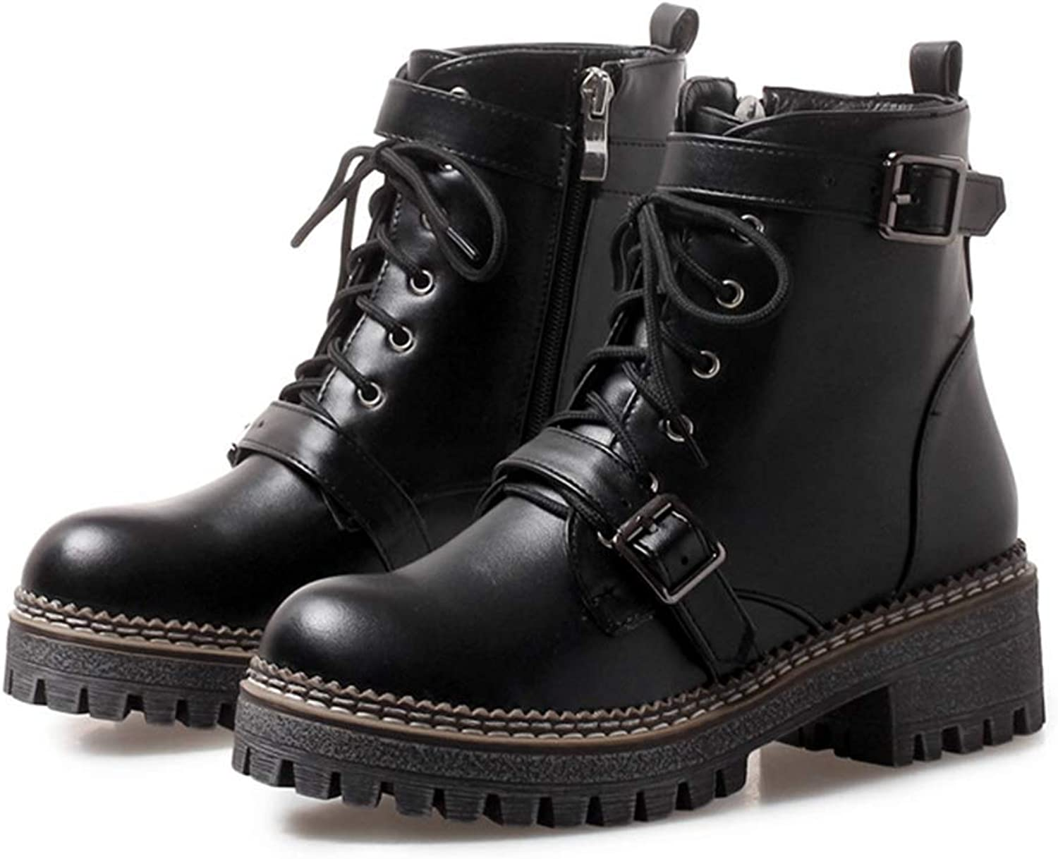 Fashion shoesbox Women's Platform Martin Boots Round Toe Side Zip Ankle Boots Ladies Leather Combat Booties Winter Motorcycle Boots