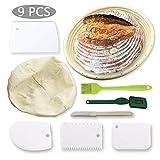 Conleke - Cesta redonda para hacer pan de 25,4 cm con paño de lino, 4 raspadores de masa,...