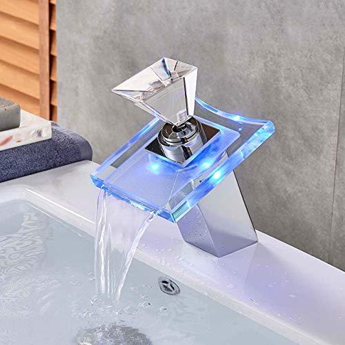 G0000D - Grifo de bronce negro LED de color para lavabo de baño grifo de cascada mezclador monomando montado en la cubierta de un solo agujero de agua fría y caliente== Calidad superior y envío gratis