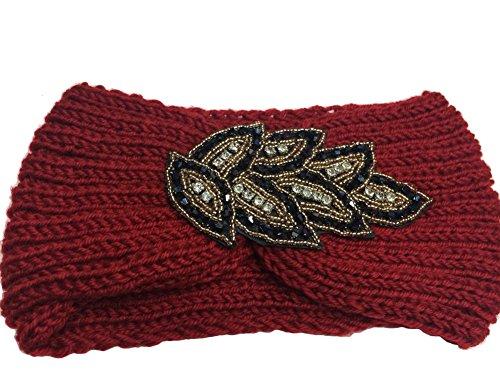 TININNA Serre-tête Bandeau Bande de Cheveux Laine Tricoté Turban Elastique Couvre-Oreille Head Wrap Chapeaux pour Femme Fille - Rouge - Taille unique