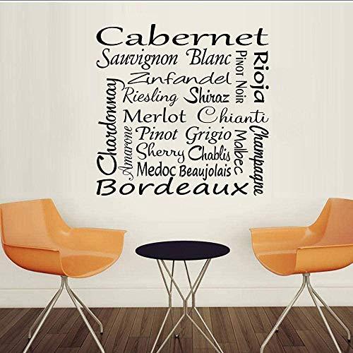 Decoración del hogar Pegatinas de pared Pegatinas interiores Página de vino Cotización Bar Arte Colgante de pared 58x58 cm