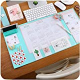 Large Size Mouse pad Anti-Slip Desk Mouse Mat Waterproof Desk Protector Mat with Smartphone Stand, Pockets, Dividing Rule, Calendar and Pen Groove(Various Colors) (Mint)