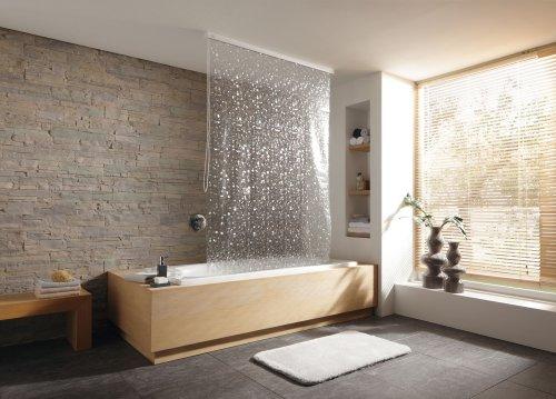 Design-Duschrollo perlmutt ausrollbar Vorhang