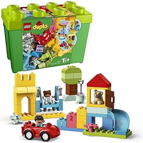 LEGO DUPLO Klasyczne pudełko z klockami Deluxe 10914 — początkowy zestaw LEGO z pojemnikiem do przechowywania, świetna zabawka edukacyjna dla maluchów od 18 miesięcy (85 elementów)