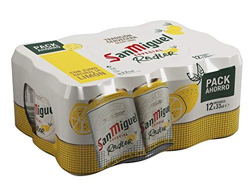 San Miguel Radler con Limón Cerveza con Zumo Natural de Limón 3.2%, Pack de 12 x 33cl