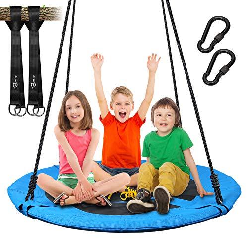 Trekassy 300KG Nestschaukel für Kinder Erwachsene Garten Outdoor mit 115cm Sitzflächendurchmesser und 2 600KG belastbaren Schaukel Gurte Blau