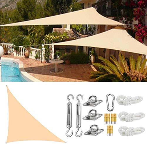 SYCEZHIJIA Shade Right Sail Sun Sail 95% UV Pool Blocking Pool Cover Sunscreen Outdoor Awnings Waterproof Sun Shade Fabric Gazebo Canopy-3x3x4.3m_Sand Color 0228