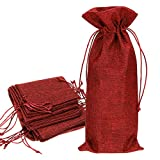 Hipiwe Red Wine Bags, Burlap Wine Bags with Drawstring Jute Red Wine Gift