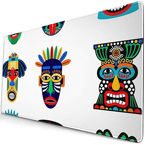 Tappetino per mouse da gioco esteso Zulu o maschera azteca, tappetino per mouse spesso e grande con tastiera per computer