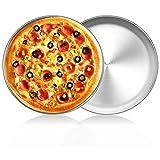 Teglia per Pizza Forata, FANDE Teglia per Pizza, Set di Teglie per Tortiera per Pizza Antiaderente con Piastra per Tortiera in Acciaio al Carbonio Universale, 20cm x 1,4 cm, 2 Pezzi