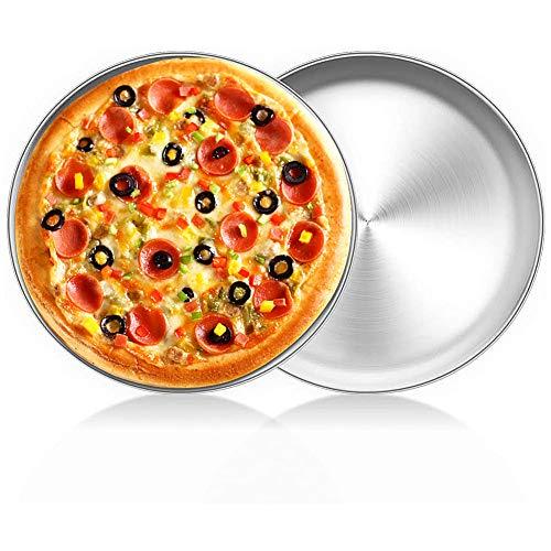 FANDE Bandejas Pizza Juego, Bandeja Horno Pizza, Juego Bandejas para Hornear Pizza Antiadherente para Platos de Pizza de Acero al Carbono, 20x 1,5 cm - 2 Piezas