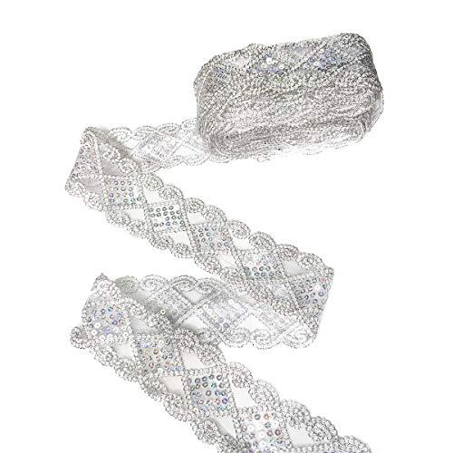 YXJDWEI 10 Yards Einfassborte Spitze mit Pailletten Lace Borte Band Applikation 9m x 5cm für DIY Kleidung Gardine Vorhang Tischläufer Deko Silber