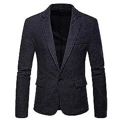 CATSAP Mens Slim Fit Blazer Jacket Single Breasted One Button Warm Outwear Sports Coat