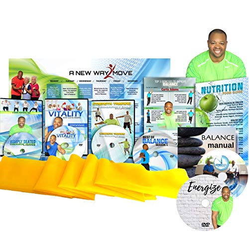 Premium, Senior Exercise DVD System- 5 DVDs + Resistance Band + Balance Exercises + Nutrition Guide + Bonus Gift! All Exercise for Seniors are Show Both Standing and Setated in a Chair Exercise