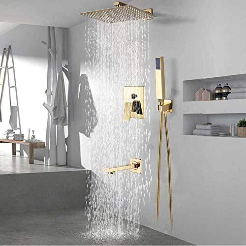 Sistema de ducha Ducha Conjunto de ducha Sistema de oro precipitaciones grifo de la ducha for montaje en pared de acero inoxidable Cabeza de ducha mezclador grifo Conceealed Instalar baño grifo de duc