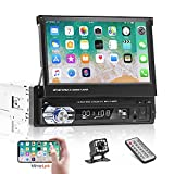 Bluetooth Single Din Car Stereo 7 Inch Retractable Touchscreen Car Radio with Backup Camera Support Mirror Link