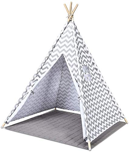 HGA Teepee Tents For Kids Tipi Outdoor Children'S Tent Indoor Indian Children'S Tent Dollhouse Princess Castle Outdoor Picnic Outing Tent,White-1.35Meters