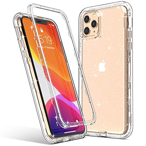 ULAK Compatible with iPhone 11 Pro Max Case, Clear Glitter Heavy Duty Shockproof Rugged Transparent Soft TPU Protective Bling Phone Cover for iPhone Pro Max 6.5 inch (2019), Glitter Clear