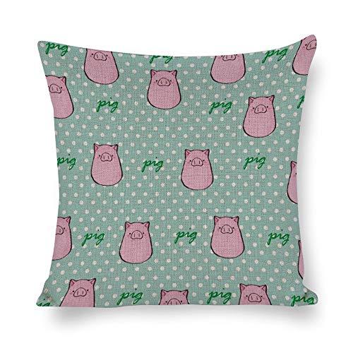 Funda de almohada de algodón y cáñamo, diseño de cerdos rosas con fondo verde, funda de cojín, funda de almohada corporal, funda de almohada, almohada de sofá, almohada decorativa para cama o sofá, estilo1, 21.7*21.7in