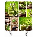 N / A Stone Garden Zen Cortina de Ducha Impermeable Textil Poliéster Accesorios de baño a Prueba de Moho Decoración del hogar Cortina de Ducha A3 90x180cm