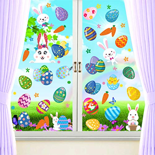 PARLAIM Oster-Fensteraufkleber, Hase, Ostereier, Küken, Karotte, Glasdekoration, 93 Stück, groß