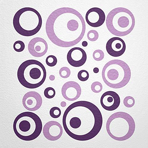 WANDfee Wandtattoo Kreise Punkte 50 Aufkleber FARBWUNSCH Wandaufkleber Kinderzimmer Fliesenaufkleber Badezimmer Küche lila pastelllila