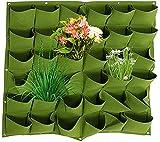 Jian Ya Na Bolsas de siembra para colgar en la pared con 36 bolsillos, para exteriores, interiores, verdes, 100 x 100 cm (verde)