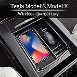 TeslaOwner Aufbewahrungsbox für die Mittelkonsole von mit kabellosem Ladegerät für iPhone X,...