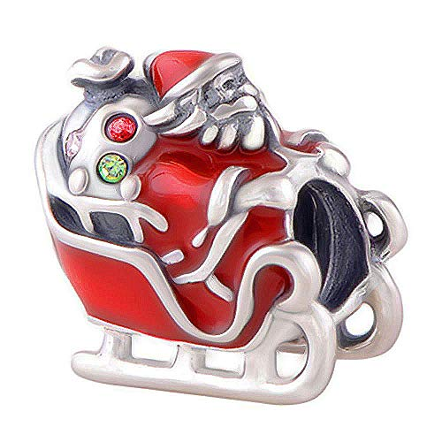Sleigh Charm - Santa Claus Father Christmas - S925 Sterling Silver Bead fits Pandora Women's Charm Bracelet - Gift boxed