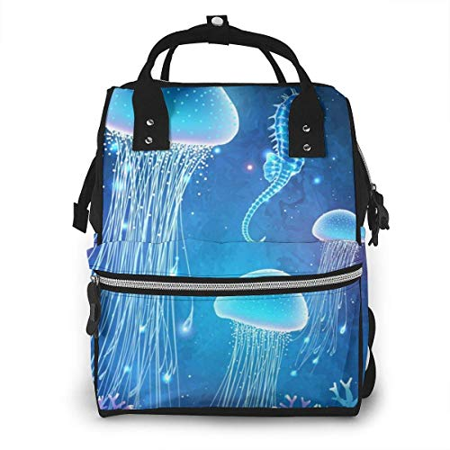 UUwant Sac à Dos à Couches pour Maman Magic Glowing Jellyfish Underwater Undersea World Fairy Tale Illustration for Inspiration Large Capacity Diaper Backpack Travel Nappy Bags Mummy Backpackor Trav