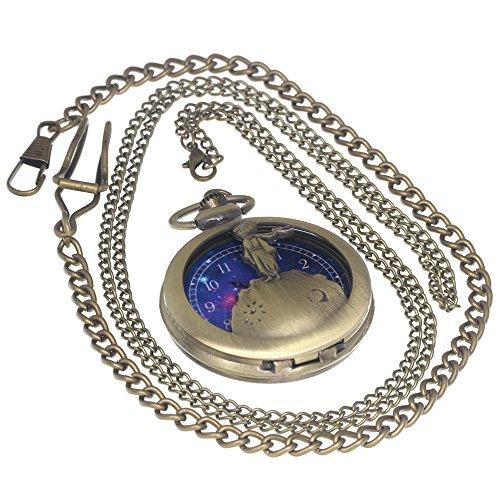 Bronze — Relógio de latão vintage com bolso e estojo antigo para homens e mulheres com 1 peça de corrente de colar 1 peça corrente de clipe, The Little Prince
