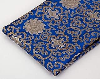 Tibetan Buddhist Traditional Blue Lotus Design Silk Brocade/Fabrics/Fabric Cloth/from Nepal