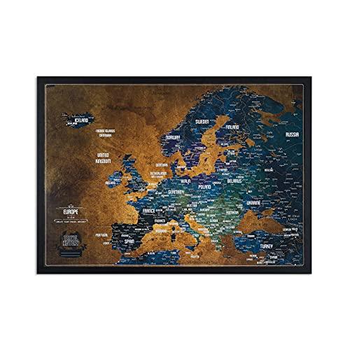 Europakarte Pinnwand mit pinen - Reisekarte mit bonus 100 Stecknadeln - Europa Pinnwand Kork - 53x3x43 cm - Gerahmte Landkarten mit Pinnadeln, Hergestellt in der EU, Die Karte ist gebrauchsfertig