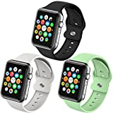 Sport Wristbands Compatible with Apple Watch Bands 42mm 44mm for Women Girls Men,3 Pack Soft Silicone Replacement Smartwatch Band for iWatch Series 6 5 4 3 2 1 SE Strap