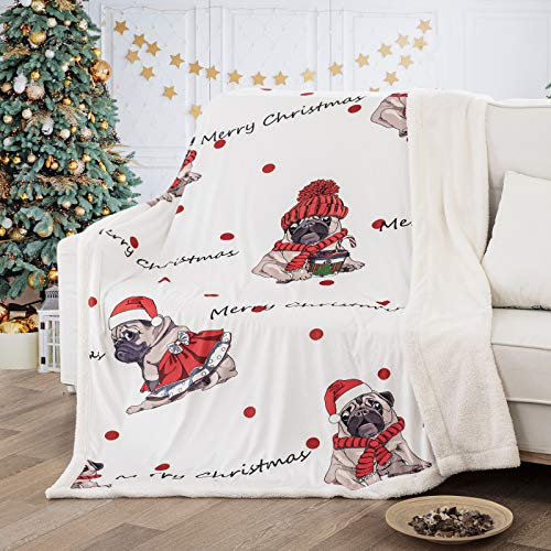 WONGS BEDDING Christmas Throw Blanket Pug Cosplay Santa Blanket Merry Christmas Printed Sherpa Throw Funny Dog Blanket for Pug Lovers Women Teens Kids Animal Throw Blanket for Couch Bed Chair 50'x60'