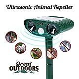 Great Outdoors Ultrasonic Animal Repeller - Eco-Friendly and Waterproof Solar Repellent with Sound Control – Sonic Deterrent for Deer Cat Dog Squirrel Raccoon Rabbit Fox - Garden Protection