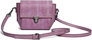 Skbiubiu Women's Vintage Shoulder Bag Fashion Handmade Leather Crossbody Bag (Color : Purple, Size : 12 * 13.5 * 8cm)