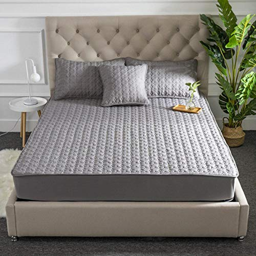 SDFCZ Cotton Quilted Mattress Protector Soft Anti-mite Mattress Topper Hypoallergenic Air-Permeable Bed Cover Washable Embossed Pad,Grey,90x200x30cm
