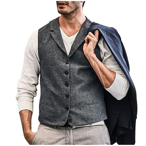 Andiwa Chaleco de tweed de espiga de corte delgado para hombre, mezcla de lana de un solo pecho, chaleco de traje casual para novios de boda de negocios (gris, XXXL)