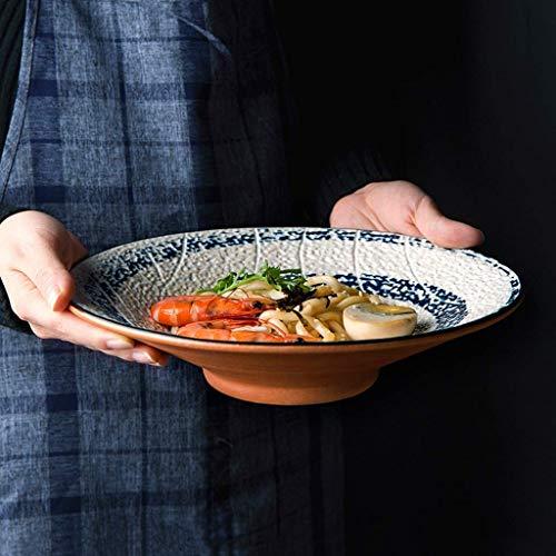 HAILI Tableware, Mano de estilo japonés pintado rosca del tornillo Tazón de cerámica de 9,5 pulgadas Ramen tazón grande retro plato de sopa de cerámica creativa Vajilla