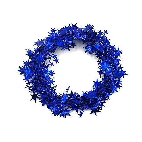 XiZiMi 23 Feet Christmas Decoration Glittering Star Shaped Tinsel Wire Garland Blue