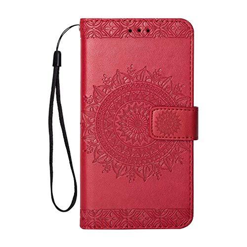 Galaxy J5 2017 Hülle, Bear Village® Leder Handyhülle für Samsung Galaxy J5 2017 mit Flip Funktion, Kartenfach und Stand Funktion, 360 Grad Voll Schutz, Rot