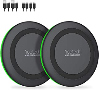 Yootech [2 Pack] Wireless Charger,Qi-Certified 10W Max Wireless Charging Pad Compatible with iPhone 11/11 Pro/11 Pro Max/Xs MAX/XR/XS/X/8,Galaxy Note 10/Note 9/S10/S9, AirPods Pro(With 4 USB C Cable)