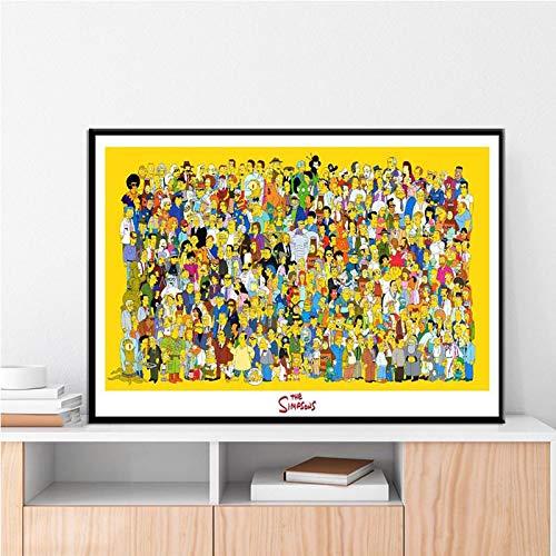 Weijiajia Póster de los Simpson, Dibujos Animados, póster e Impresiones, Pintura en Lienzo, Arte de Pared, Imagen de Sala de Estar, decoración del hogar 40x50cm F-2657